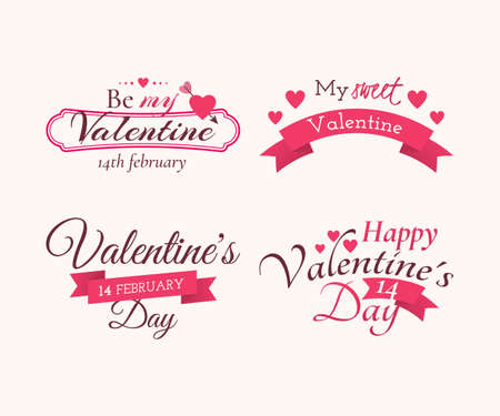 Set of badges and labels with title Happy Valentine's day, Be my Valentine and My sweet Valentine. Decoration elements with holiday symbols (hearts, arrow and ribbon).