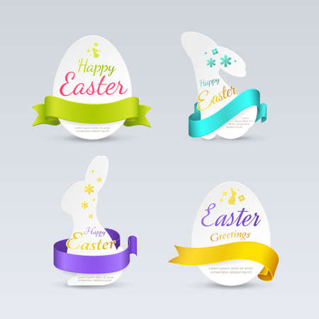 Set of easter labels in the form of bunnies and eggs with colored curled ribbons. Vector elements with holiday symbols (rabbits, eggs, flowers) for greeting cards design. Isolated from the background.