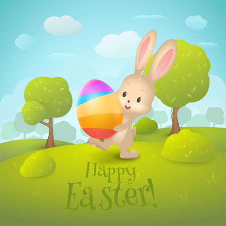 Greeting card with text Happy Easter !. Cartoon spring landscape with cute rabbit and colored egg in field. Holiday background with trees, grass, bushes, clouds for design posters and banners.
