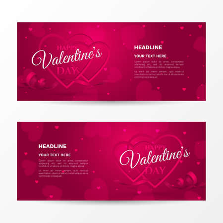 Vector set of horizontal romantic banners for