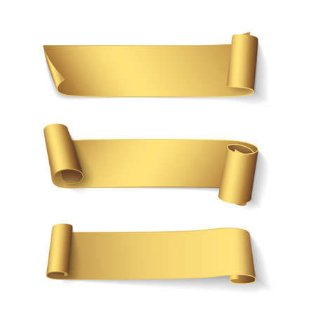 Set of short curved golden ribbons. Vector realistic elements for banners and promotional design. Isolated from the background.