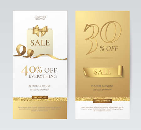 Set of elegant vertical banners with paper shopping bag, golden bow and ribbon. Vector templates for promotion design on the website with gold and white background. Isolated from the background Иллюстрация
