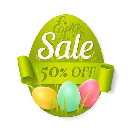 Easter sale poster with colored eggs, grass and green ribbon. Vector template for banners design with discounts offers. Isolated from the background. Иллюстрация