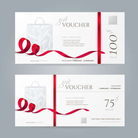 Set of stylish gift vouchers with red ribbons and paper shopping bag. Vector template for gift card, coupon and certificate. Isolated from the background. Иллюстрация