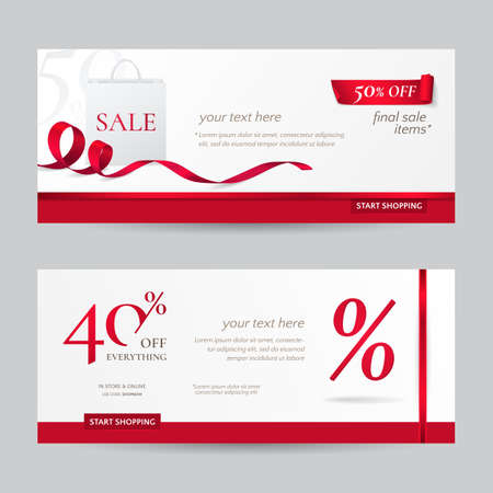 Set of stylish horizontal banners with paper shopping bag and red ribbons. Vector templates for discounts offered on the website. Isolated from the background. Иллюстрация