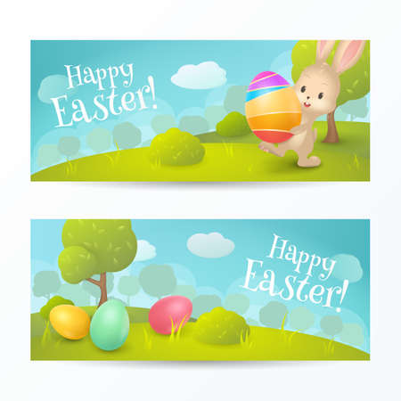 Vector set of holiday horizontal banners with text Happy Easter! Cartoon spring scene with cute bunny and colored eggs in field. Background for greeting cards design. File contains clipping mask.