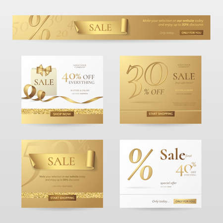 Set of elegant sale banners with golden bow, ribbon and paper shopping bag. Иллюстрация