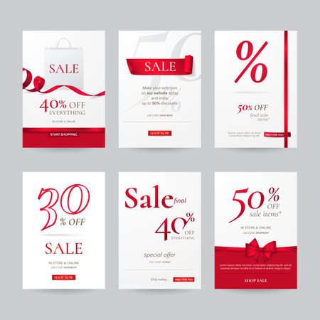 Set of stylish sale banners with red bow, ribbon and paper shopping bag. Vector template for discounts offered on the website. Isolated from the background.