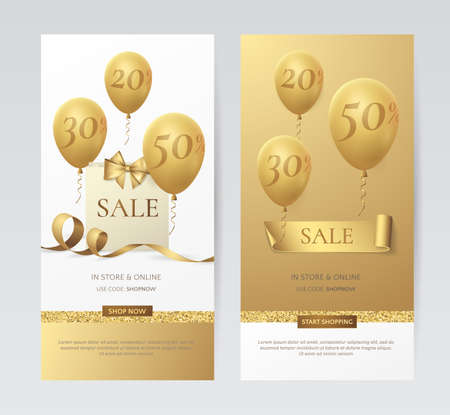 Set of stylish vertical banners with paper shopping bag, golden bow, ribbons and balloons.