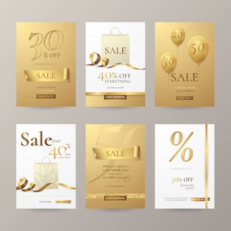 Set of stylish banners for sale with golden ribbons, paper shopping bag and balloons. Иллюстрация