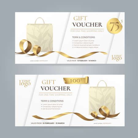 Set of modern gift vouchers with shiny golden ribbons and paper shopping bags. Иллюстрация