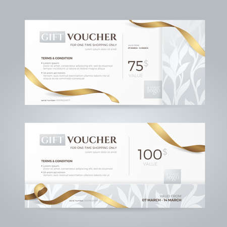 Set of luxury gift vouchers with golden ribbons and floral silver patterns. Иллюстрация