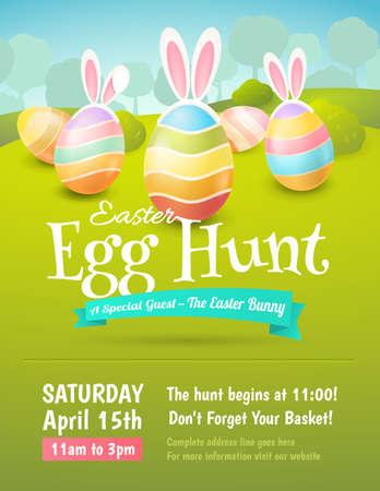 벡터 귀여운 포스터 부활절 달걀 색 계란 및 토끼의 귀.
