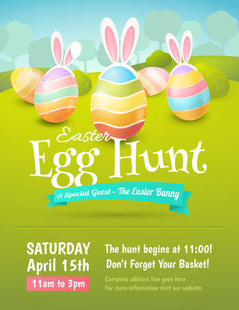 Vector cute poster for Easter Egg Hunt with colored eggs and ears of a rabbit. Illustration
