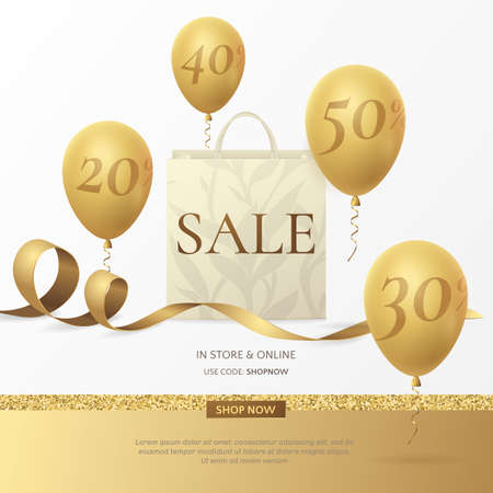 Stylish sale poster with a paper shopping bag, golden ribbon and balloons.