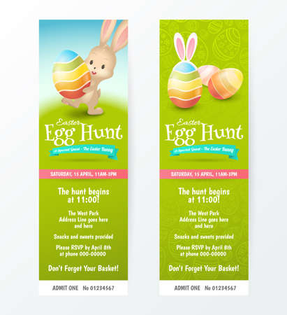 Set of tickets for Easter Egg Hunt with colored eggs and cute rabbit.