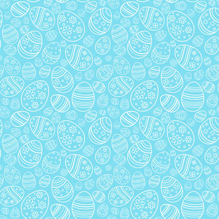 Vector seamless gentle pattern with decorative eggs. Easter holiday blue background for website, printing on fabric, gift wrap and wallpapers.