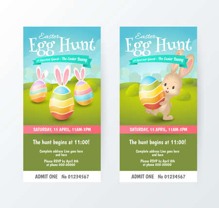 Set of cute tickets for Easter Egg Hunt with colored eggs and cute bunny in fields. Vector template for invitations and greeting cards design with cartoon spring scene. Isolated from the background.