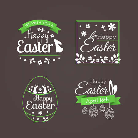 Vector set of cute badges and labels with title Happy Easter. Decoration elements with holiday symbols (eggs, ribbons, flowers, bunny and ears of a rabbit) for greeting cards and invitation design.