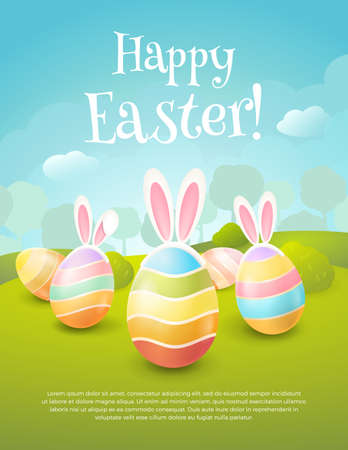 Vector greeting card with title Happy Easter !. Cartoon spring scene with cute colored eggs and ears of a bunny. Holiday background with trees, bushes and place for text. Иллюстрация