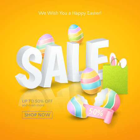 Poster for Easter Sales with 3d text, colored eggs, ribbon, paper shopping bag and and ears of a bunny on the orange background. Vector template for banners and flyers design with discounts offers