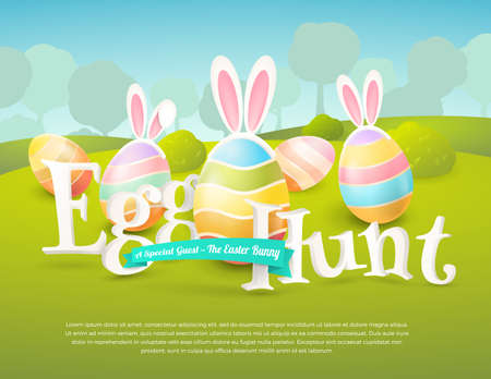 Vector cute poster for Easter Egg Hunt with colored eggs and ears of a bunny.