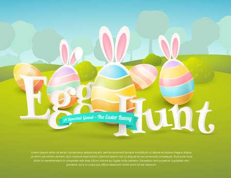 Vector lindo cartel para la caza del huevo de Pascua con huevos de colores y orejas de un conejito.