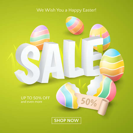 Poster for Easter Sale with 3d text, colored eggs, ribbon and grass on the green background.