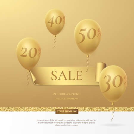 Stylish sale poster with a golden ribbon and balloons. Иллюстрация