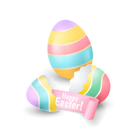 Vector holiday illustration with the broken eggshell and colored egg for greeting banners and flyers design. Иллюстрация
