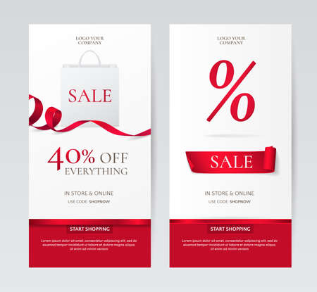 Set of elegant vertical banners with paper shopping bag and red ribbons.