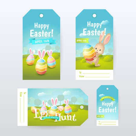 Vector set of Gift Tags with title Happy Easter and Egg Hunt with colored eggs and cute bunny.
