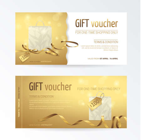 Vector set of gift voucher with paper shopping bag, small bow, ribbons and tags on the shiny gold background. Modern template for holiday certificate, coupon and gift cards. Иллюстрация