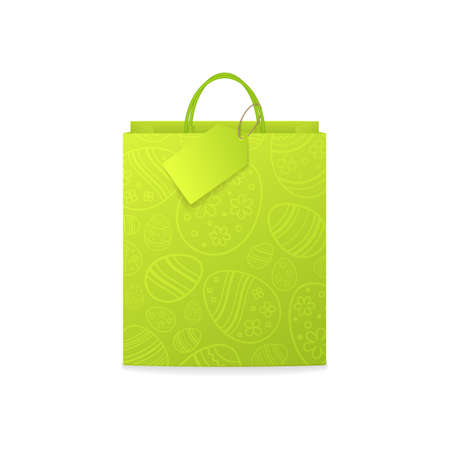 Vector green paper shopping bag with pattern of ornamental eggs for design easter gift vouchers and coupons. Isolated from the background.
