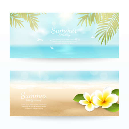 Vector set of summer horizontal banners with beach, sea, waves, palm leaves and tropical flowers. Travel background with plumeria and blurred effect. File contains clipping mask.