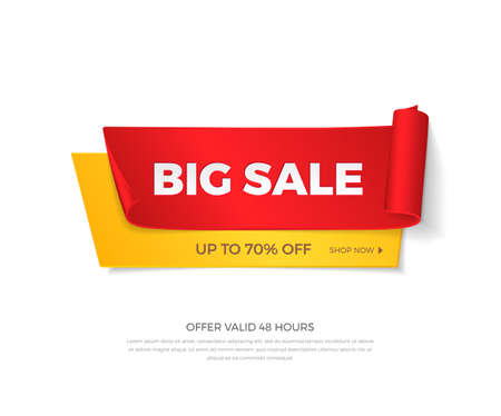 Vector big sale banner. Realistic curved red and yellow paper ribbons with shadow and space for text for discounts offers. Isolated from the background. Иллюстрация