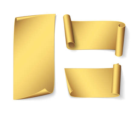 Set of short realistic gold ribbons. Vector curved paper banners for promotional design. Isolated from the background