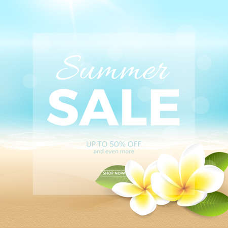 Vector summer sale poster with beach, sea, waves and tropical flowers. Travel background with plumeria, blurred effect for design banner and flyer. File contains clipping mask.