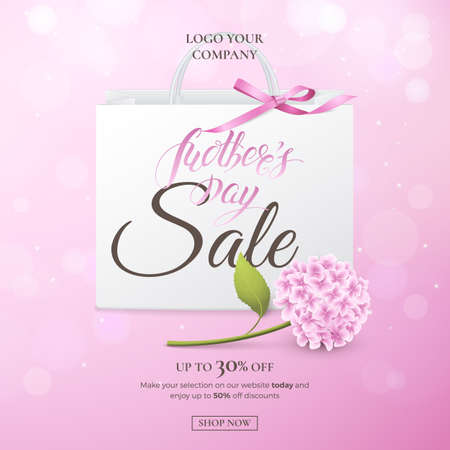 Vector sale poster for discounts offers of Mother's day with hydrangea, paper shopping bag, bow on the pink background. Holiday template with flower for design of flyer and banner with effect bokeh.