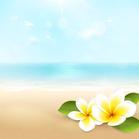 Vector summer background with beach, sea, waves and tropical flowers. Travel template with plumeria, blurred effect for design banner and flyer with space for text. File contains clipping mask.