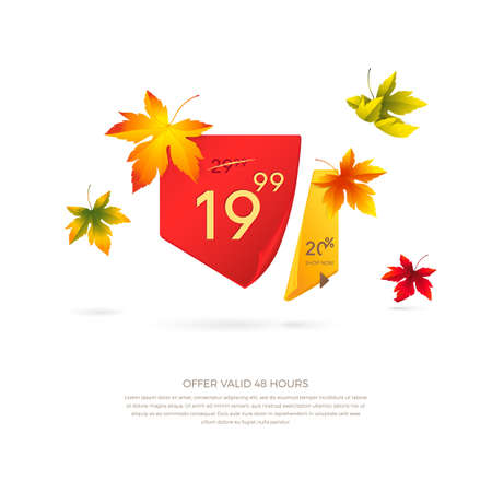 Vector autumn sale banner with maple leaves. Realistic curved red and yellow paper ribbons with shadow and space for text for discounts offers. Isolated from the background.