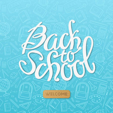 """Back to school"" vector illustration for design flyers and banners on the blue background with text and seamless pattern of school items (backpack, pencil, notebook, ruler, globe, bus)."