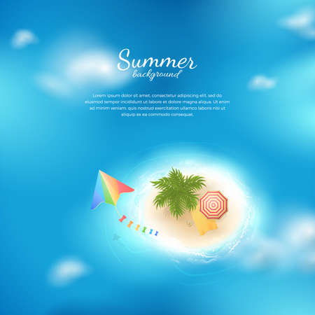 Vector background with top view of tropical island with clouds, palm tree, kite, beach umbrella, towel and flip flops. Template with ocean for design travel banners, flyers and posters.