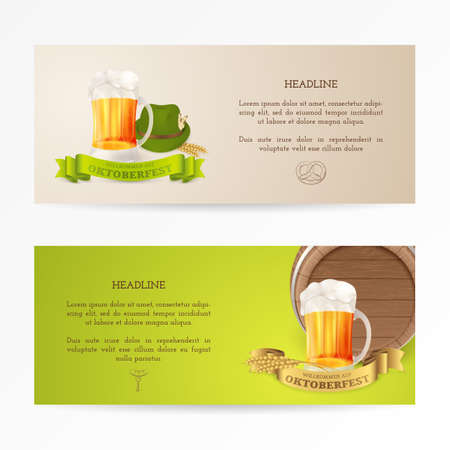 Vector banners with mug of beer, wooden barrel, gold and green ribbons, wheat and hat with feathers for design flyers and posters of Beer festival. Title on the illustration: Welcome to Oktoberfest
