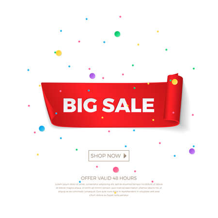 Vector big sale banner with colored confetti. Realistic curved red paper ribbons with shadow and space for text for discounts offers. Isolated from the background.