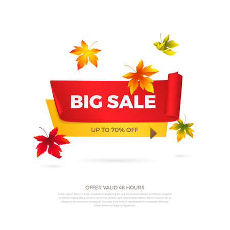 Vector big sale banner with falling maple leaves. Realistic curved red and yellow paper ribbons with shadow and space for text for promotion design. Isolated from the background. Иллюстрация