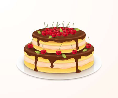 Sweet cake with cherries for festive birthday card design.