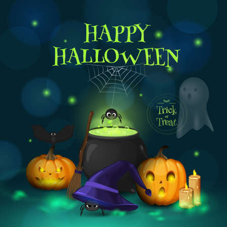 "Vector greeting card with title ""Happy Halloween"". Cartoon cute scene with pumpkins, spiders, ghost, witch's hat, broom and  cauldron. Holiday background for design banners and flyers."
