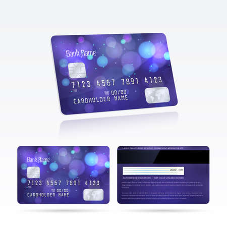 Vector template and design credit cards with effect bokeh on the violet background. Modern layout with lights and blur effect for business, payment history, shopping. Isolated from the background.