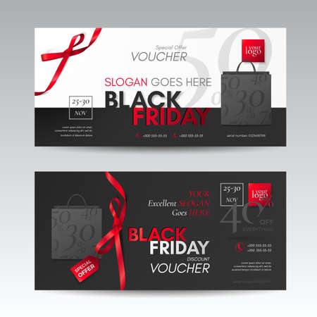 Vector set of modern discount vouchers for black friday sale with tag, paper shopping bags, red small bows and ribbons. Template for gift cards, coupons and certificates. Isolated from the background.